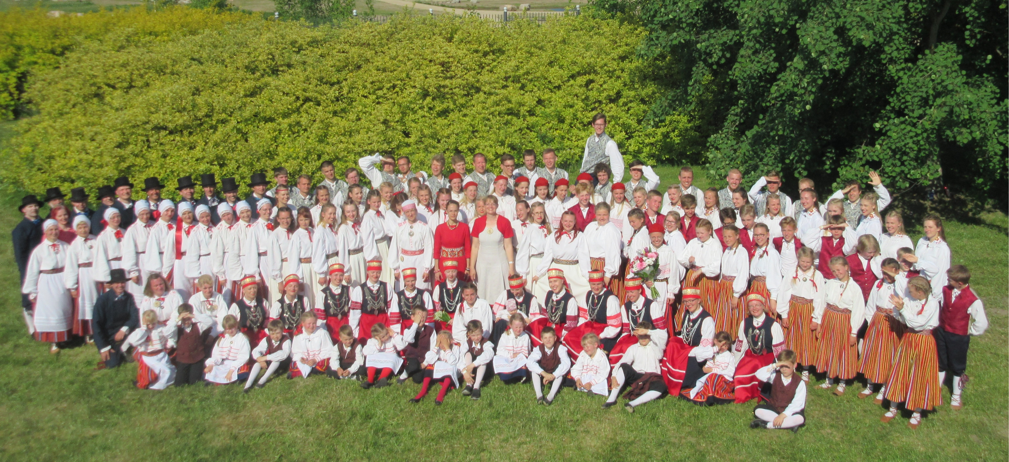 All members of Folk Dance Ensemble of Tartu University at Tartu county folk dance festival in May 2016