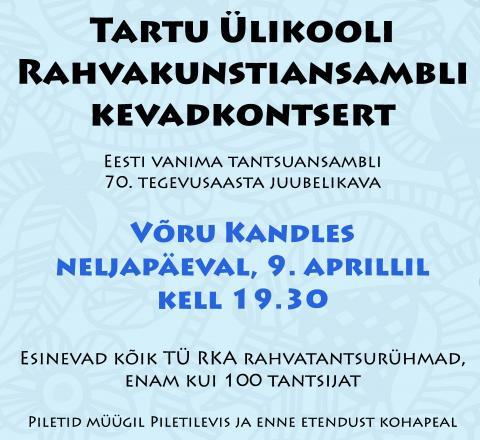 TÜ RKA kevadkontsert Võrus 9. aprillil 2015 kl 19.30